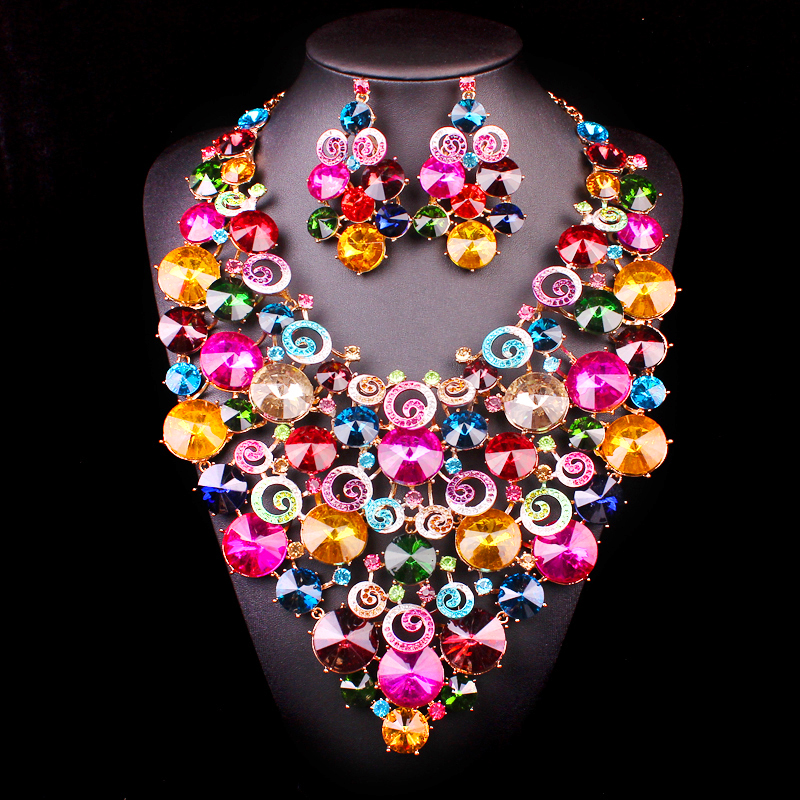 Luxury Crystal big Bridal Jewelry Sets For Brides Bridesmaid Statement Necklace Earrings sets Wedding Party costume Accessories