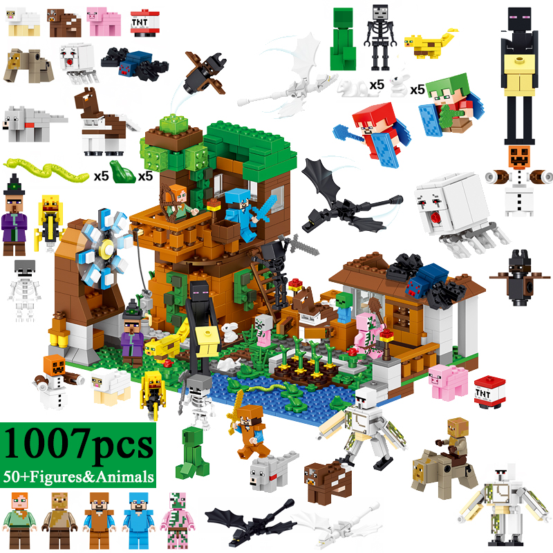 LELE Minecraft 1007pcs My World Upgraded Tree House Building Blocks Bricks Mini Zombie Steve Figures Toys For Children legoINGly minecraft 4 in 1 building blocks minecraft figures dragons toys steve zombie alex witch zombie skeleton compatible blocks e