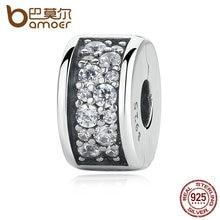 BAMOER 925 Shining Elegancia Brillante Clip, Clear CZ Encantos cupieron la Pulsera para Las Mujeres Joyería de DIY Que Hace PAS310