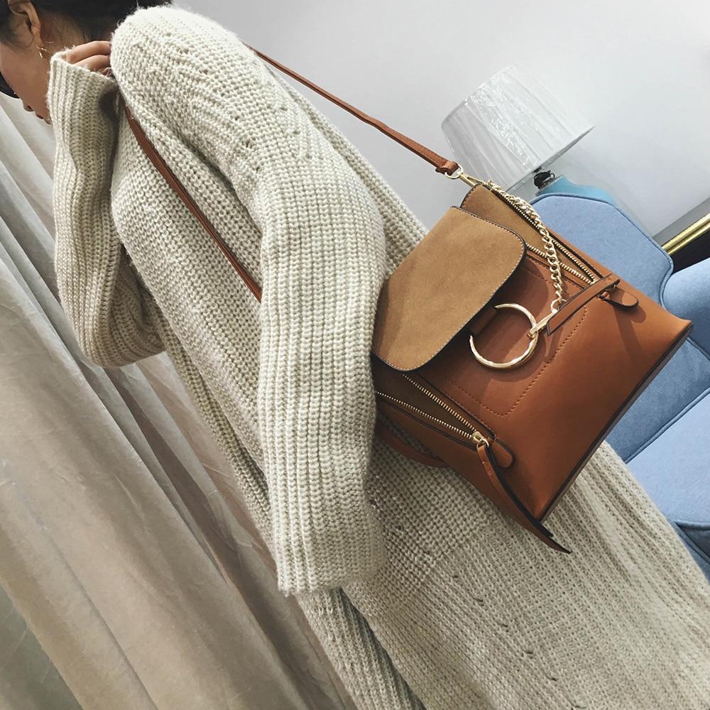 ФОТО Women Leather Handbags New Vintage Women's Shoulder Bag Famous Chains Crossbody Bag Multifunction Back packs
