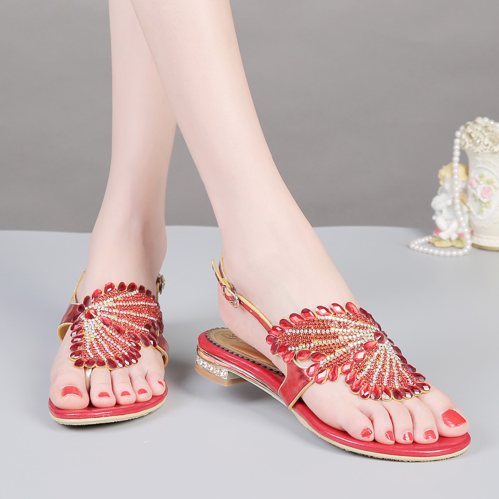 A undertakes foreign trade women's shoes sources of new diamond sandals in the summer of 2017, the Roman shoes thick with female in the summer of 2016 the new wedge heels with fish in square mouth denim fashion sexy female cool shoes nightclubs