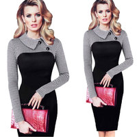 Plus size Doll collar Pack Hip Vestidos Autumn Winter Sexy Dress New Long sleeved Ladies Dresses 2018 new Pencil party Dress 389