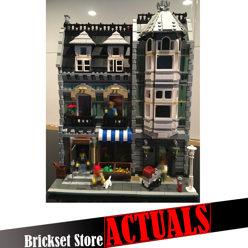 2462pcs 15008 Lepin City Street Creator Green Grocer Model action figures Building Blocks Bricks toys for children gifts 10185 dhl lepin15008 2462pcs city street green grocer model building kits blocks bricks compatible educational toy 10185 children gift