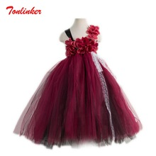 Lovely Princess Long Style  Flowers Tutu Tulle Catwalk Dress Girls Prom Sleeveless Birthday Party Dress Vestido 2020 new bridal dress cloak tulle princess proof shawl party stage catwalk photographic portrait tulle cloak