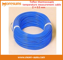 Envío Gratis 20 M/lote tipo K azul THERMO-COUPLE teflón termopar de medición de temperatura del termopar DE ALAMBRE cable 2*0.5mm