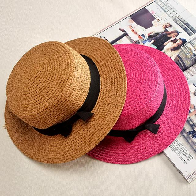 Sun hats Foldable womens sunhats Bow women's hat Summer flat eaves dome cap Headwear