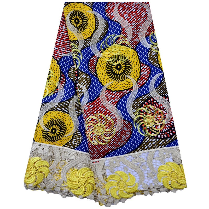 African Net Lace Fabric High Quality 2019 Latest African Wax Lace Fabric 5 Yards Yellow African