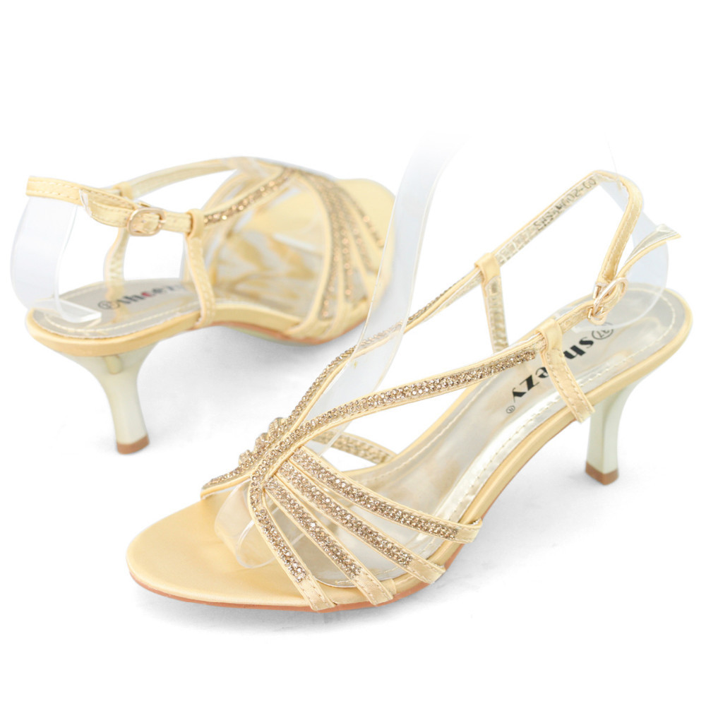 dc8618823fb SHOEZY brand womens slingback sandals strappy rhinestone kitten heels  sandals gold silver wedding party low heel shoes woman new-in Women s  Sandals from ...