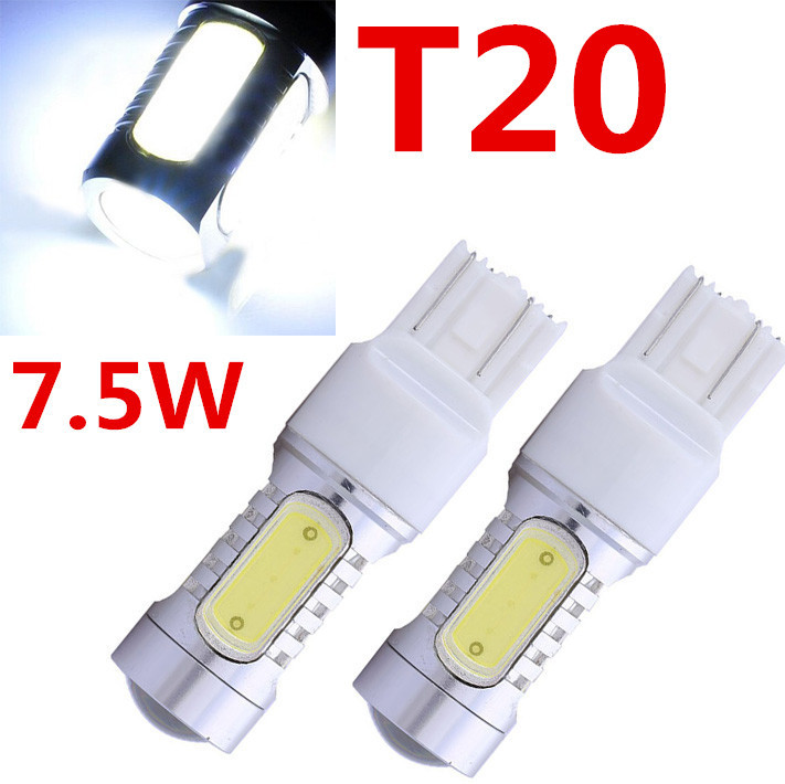 2X T20 7.5w 12v Led Car Light Source 7443 Led Auto Brake Bulbs w21/5w Parking High Power Car Led Lamp car styling 1x car led t20 7443 w21 5w auto rear light stop bulbs 21 5w external brake lights replacement halogen car styling parking lights