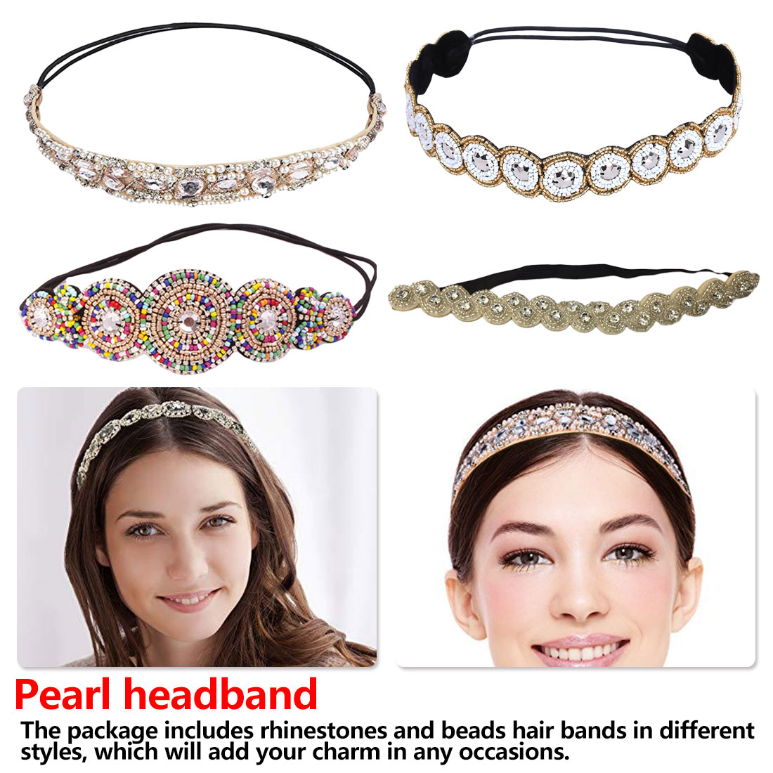 National Style Vintage Bohemian Ethnic Colored Seed Beads Flower Headband Party Handmade Elastic Hair Band Hair Accessory