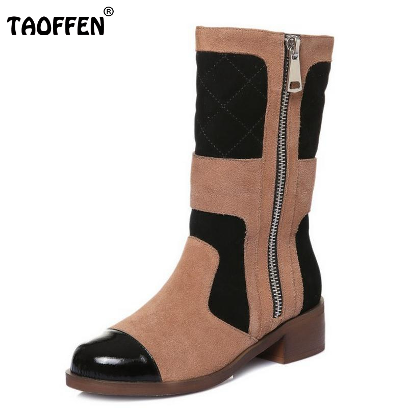 Women Real Leather Half Boots Winter Snow Boots Lady Square Heel Fashion Mixed Color Round Toe Bota Mujer Women Shoes Size 33-42 platform square heel half short real leather boots women fashion round toe zipper shoes lace up female bootie size 34 39
