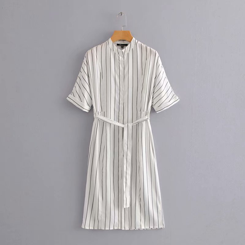 2018 women vintage stand collar striped kimono dress office lady wear vestidos bow tied sashes business party dresses DS1190