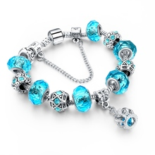 2016 Russia Belarus Popular 925 Silver Charm Bracelet Bangle with Royal Crown Pendant Blue Crystal Beads