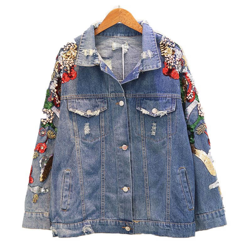 2020 Spring Autumn Womens Jean Jacket Fashion Bead Sequins Denim Coat Girls Student Hole Loose Jeans Jackets Basic Outwear