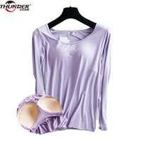 Sutiã acolchoado básico camiseta feminina modal manga longa o pescoço sólido camiseta construído em sutiã casual macio respirável camisetas oi-q