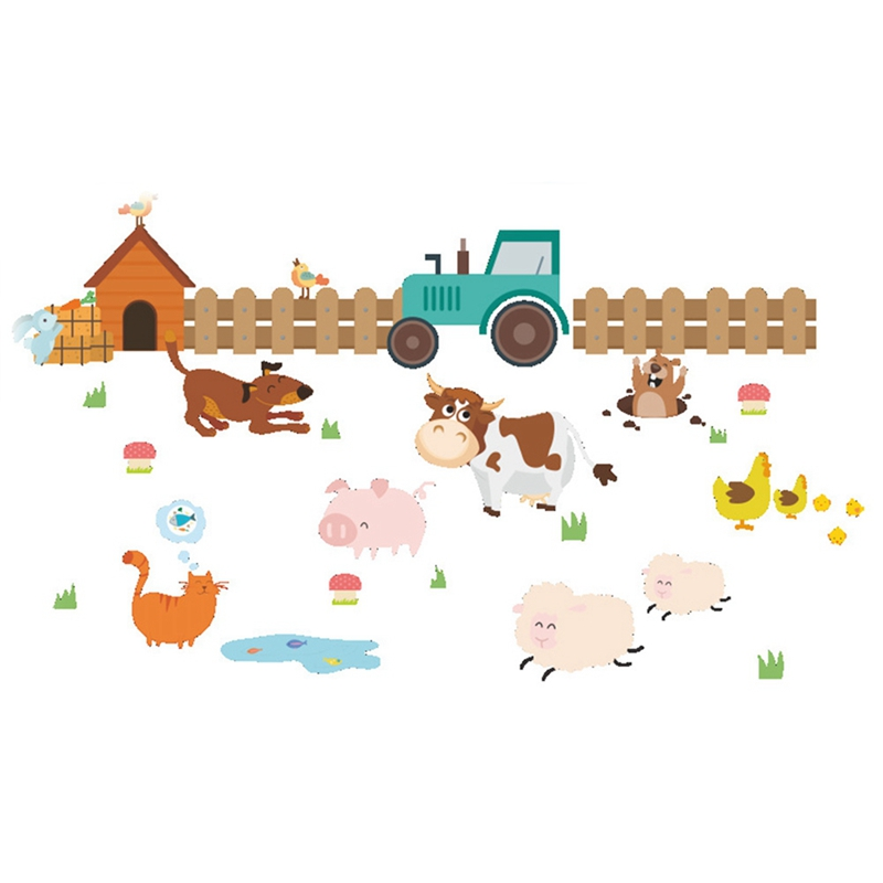 Kids Room Wall Decals Farm Wall Decals Farm Animal Decals: 2018 Cartoon Farm Animals Fence Cattle Dog Wall Stickers
