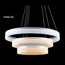 NEW  Remote control Dimmer LED 54W Ring Chandelier Lights Lighting Modern Acrylic Lamps Luxurious Three Rings Fixtures