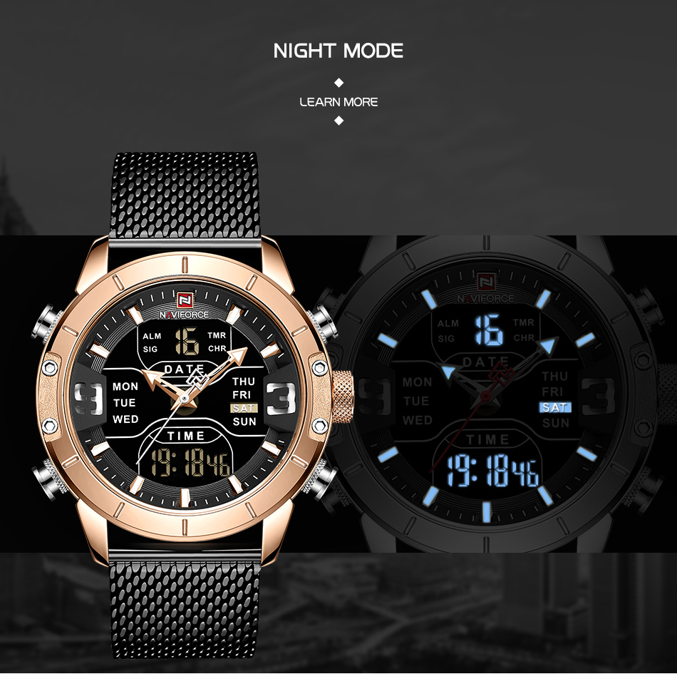 NAVIFORCE 2019 Men Military Waterproof LED Quartz Sport Watches Military Stainless Steel Mesh Male Business Relogio Masculino  (5)