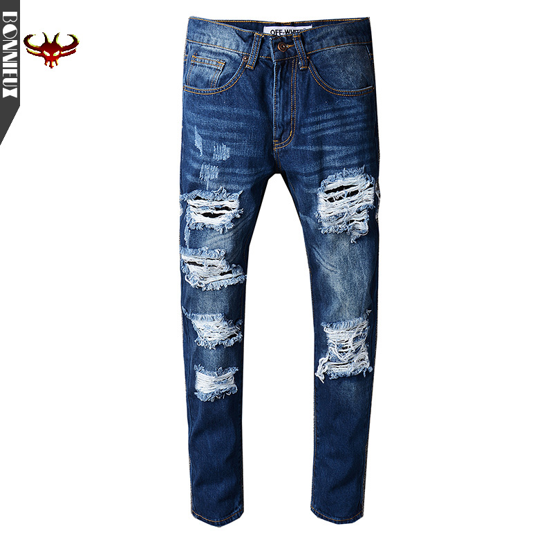 High quality 2017 New Autumn Fashion Hole Jeans Men Long Trousers skinny ripped distressed jeans Denim Pants Plus Size 2017 brand autumn jeans men hole ripped slim denim trousers biker jeans skinny jean male high quality waist plus size jeans