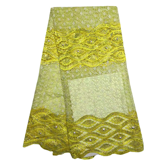 New Fashion Nigerian Wedding Aso Ebi Styles Nigeria Mesh Lace Yellow Stani Embroidery Laces For Dresses