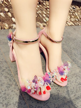 Sweety Chunky Heel Crystal Sandals Butterfly Decor Pink Open Toe Vacation Shoes Square Flower Woman