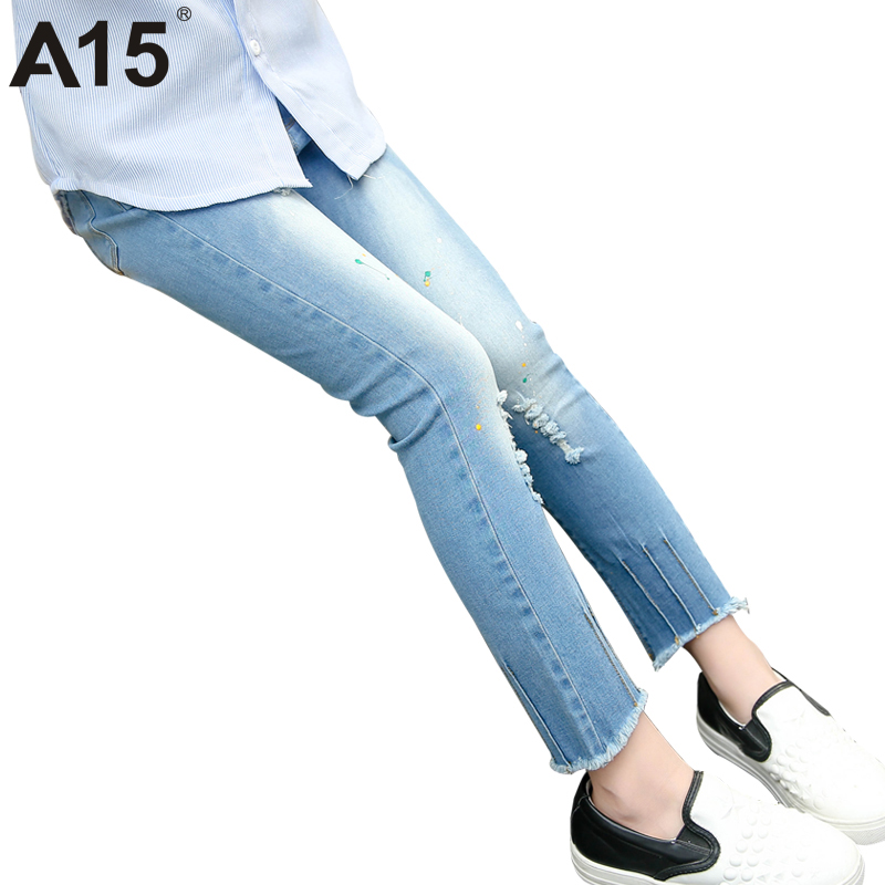 A15 Children Jeans Ripped Blue Skinny Jeans for Girls 2017 Spring Autumn Slim Kids Girls Denim Pants Clothing Age 6 8 10 12 Year