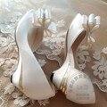 Бабочкой Тонкий Каблук Хороший Грейс Чистый Цвет Горячей Продажи Белый свадебная Обувь Свадебная Женщины Peep Toe Высокие Каблуки Сексуальная Сладкий темперамент