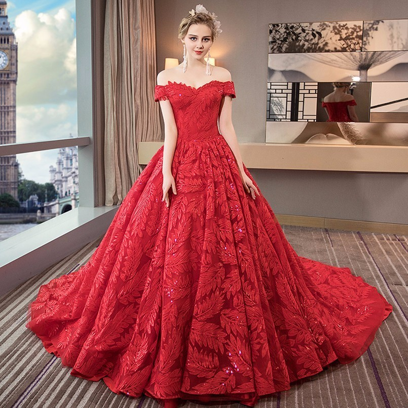 7b1123d30f2 Luxury Ball Gown Wedding Dresses 2018 Dubai Lace Plus Size Red Wedding  Dress Long Tail Short Sleeve Wedding Gowns Robe De Mariee-in Wedding  Dresses from ...