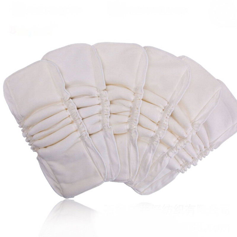 1PC 5 Layers Reusable Washable Folding Inserts Boosters Liners Baby Diaper Cover Waterproof Organic Bamboo Cotton Wrap Insert
