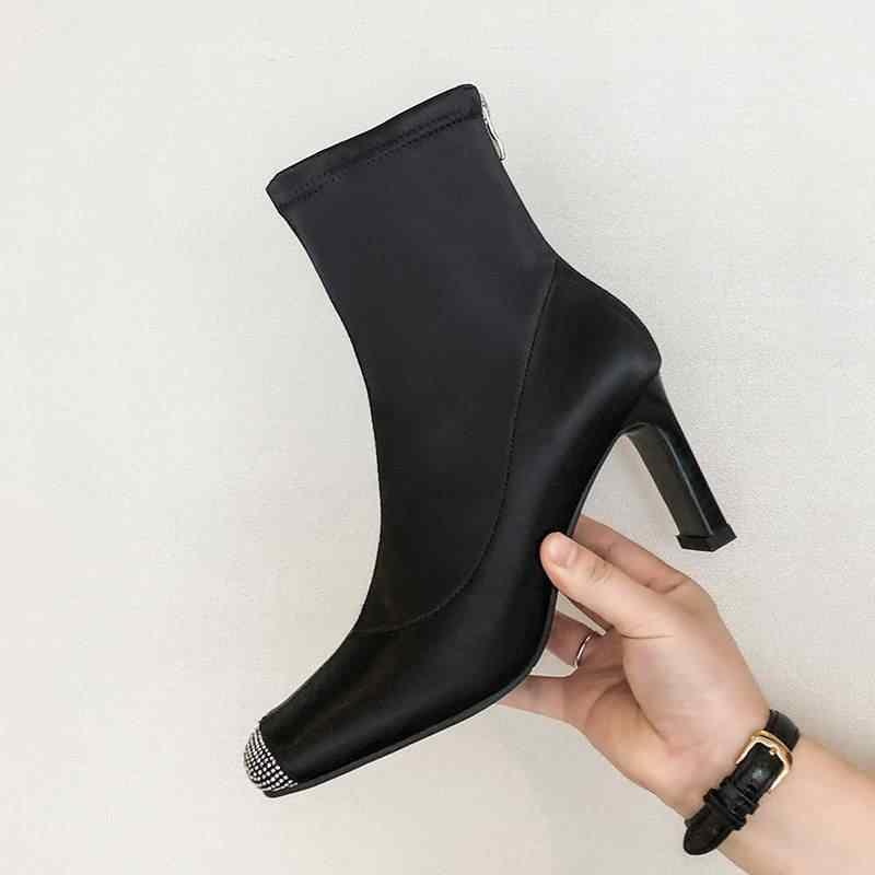 Superstar fermuar kare toe kristal yüksek topuklu kadın yarım çizmeler pist tatlı moda çizmeler zarif tatil sonbahar ayakkabı L18
