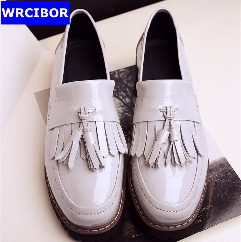 font b Women b font Patent Leather Fretwork Vintage Flat Oxford Shoes font b Woman