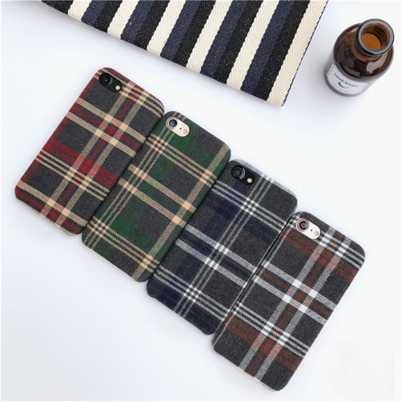 LUDI Britain style Grid Cloth Fabrics Grid Cloth Back Cover for iphone X 8 7 Plus Soft Phone Case for iphone 6 6S 66sPlus      7