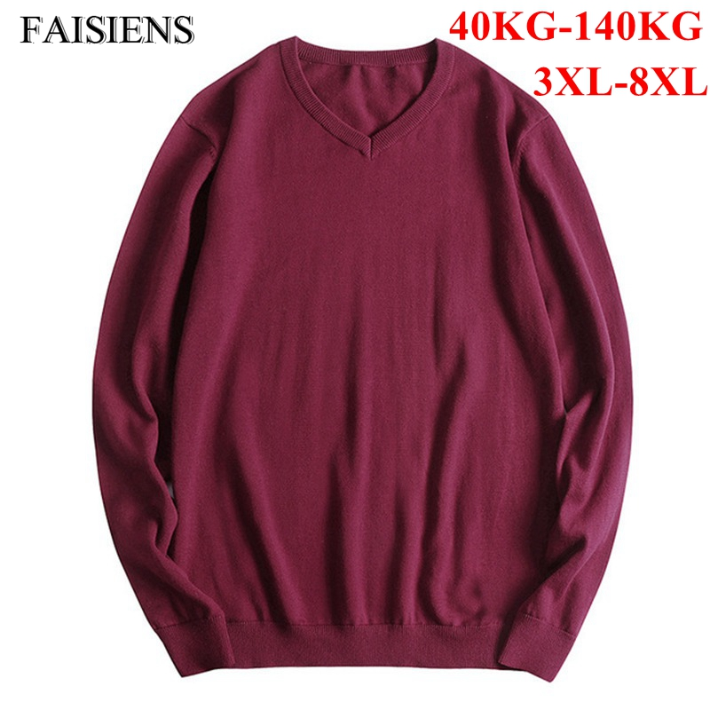 FAISIENS 7XL 8XL Big Sizes Pullover Men Solid V Neck Long Sleeve Large Size 5XL 6XL Red Black Gray Cotton Thin Mens Jumpers
