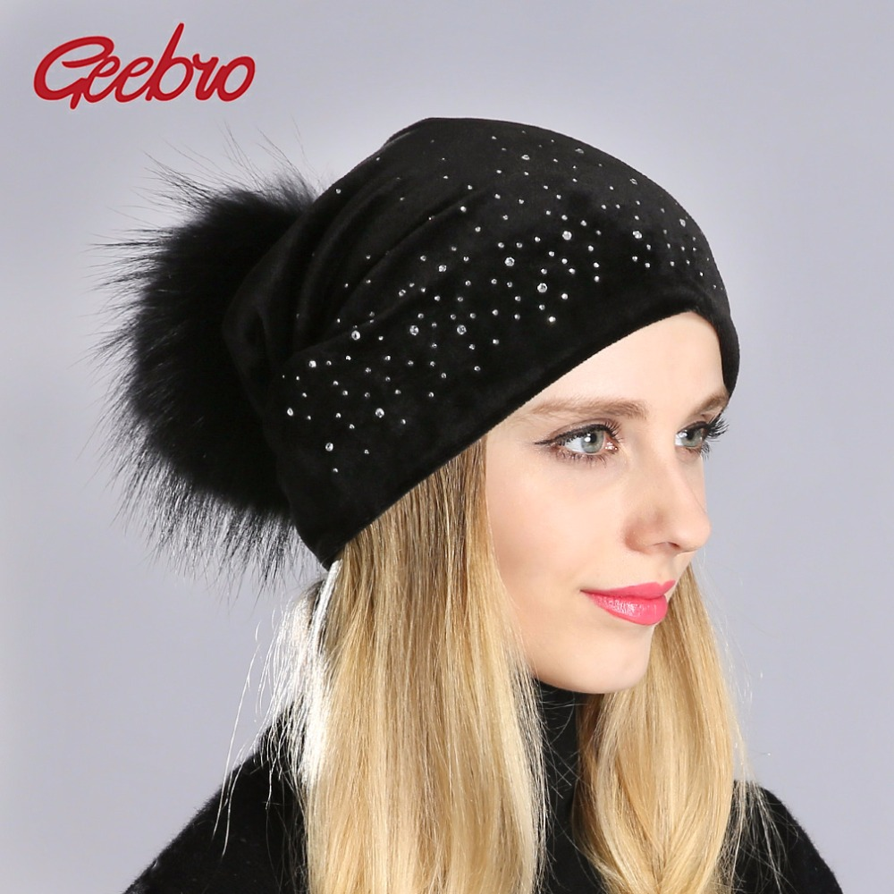 Geebro Winter Women's Pom Pom Beanie Hat And Neck Scarf Casual Casual Velvet Rhinestones Beanies Hat With Raccoon Pompons DQ026