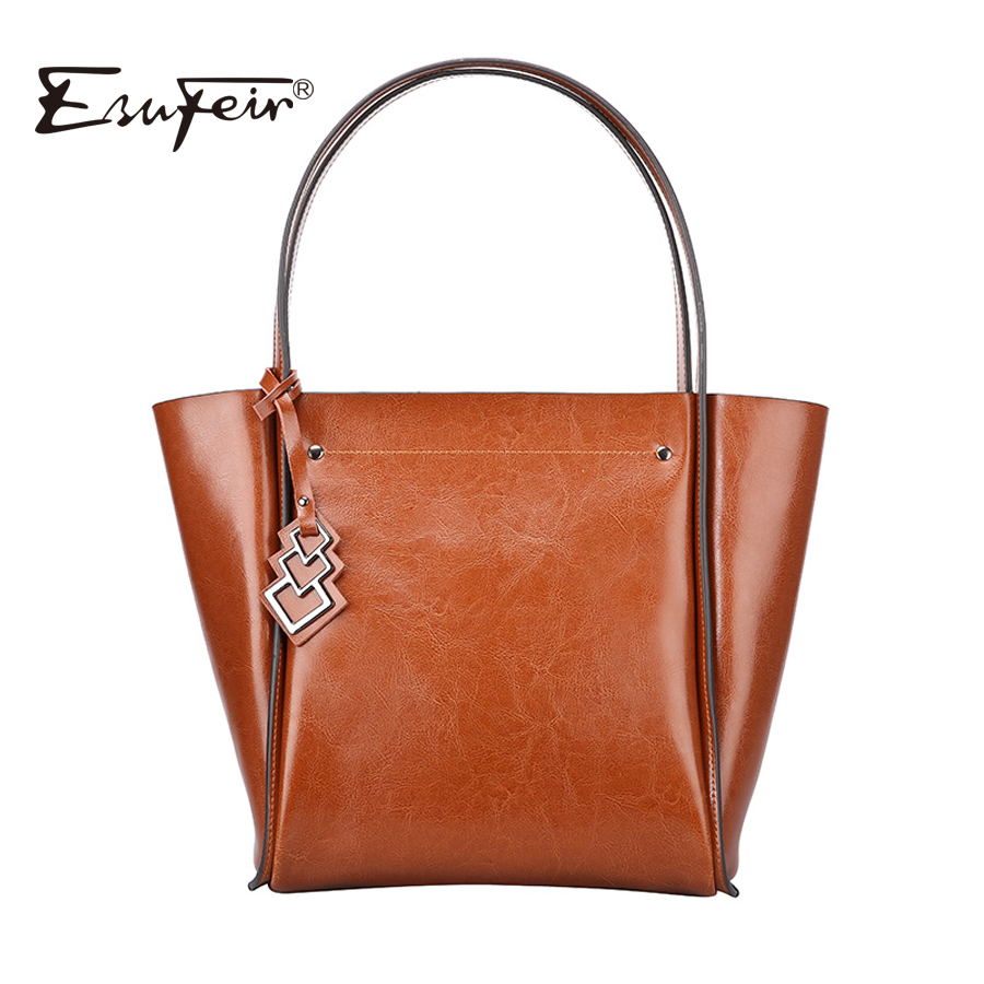 2018 ESUFEIR Brand Genuine Leather Women Bag Fashion Vintage Cowhide Leather Handbag Women Shoulder Bag Large Casual Tote Bag 2017 esufeir brand genuine leather women handbag fashion shoulder bag solid cowhide composite bag large capacity casual tote bag