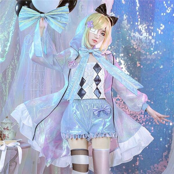 Anime Cosplay Costume Laser garçon rouge coeur reine uniforme Alice Top + pantalon + manteau Sweety et mignon ensembles complets A