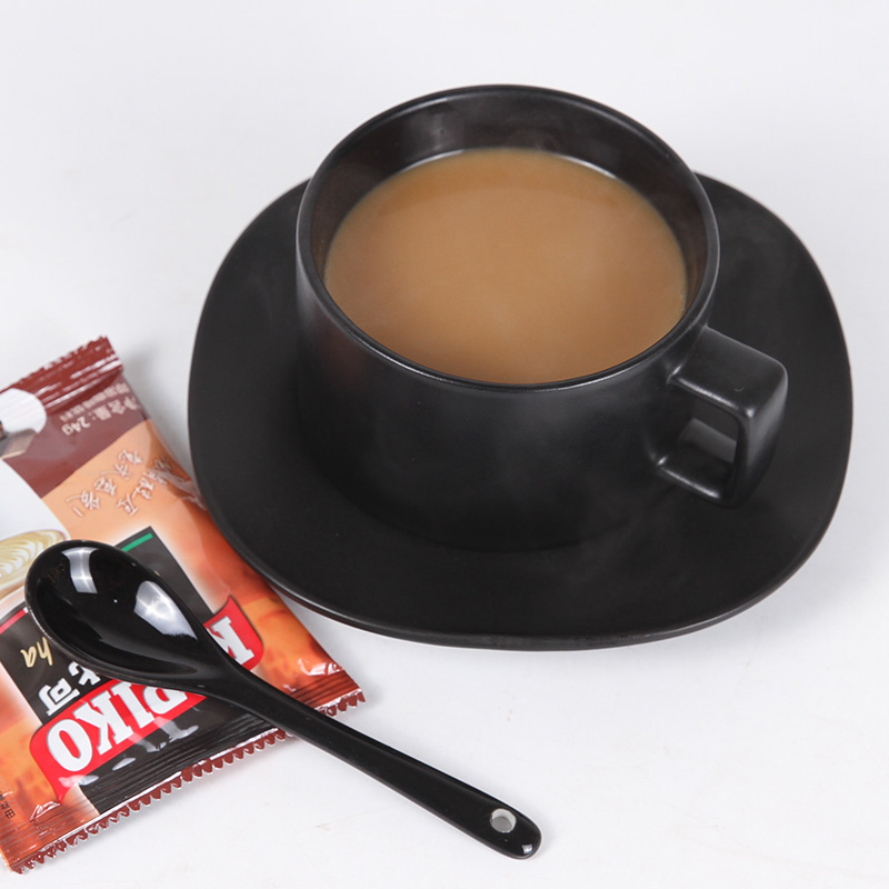 Simple black/ white ceramic coffee cup set retro matte cup pure black coffee cup with dish spoon