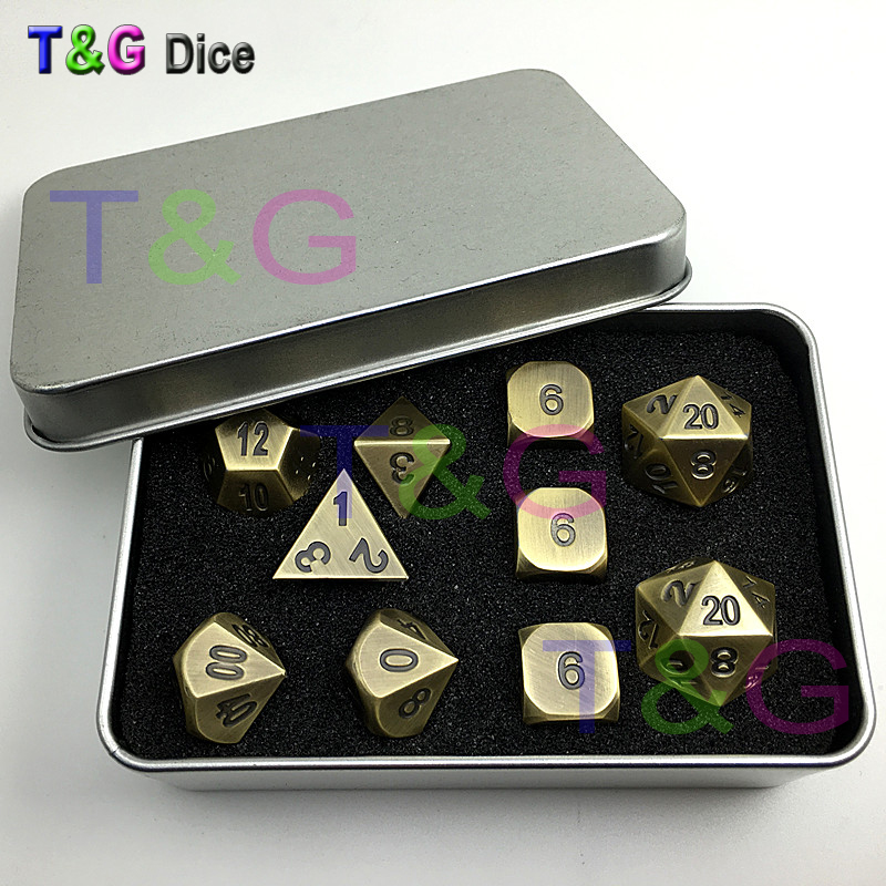 Brass Color Metal Dice d4 3xd6 d8 d10 d12 2xd20 dnd RPG Digital Dice with Iron Boxes for Gift 10pcs/set 7pcs set the call of foreign trade new product cthulhu dnd dice black green word dnd dice