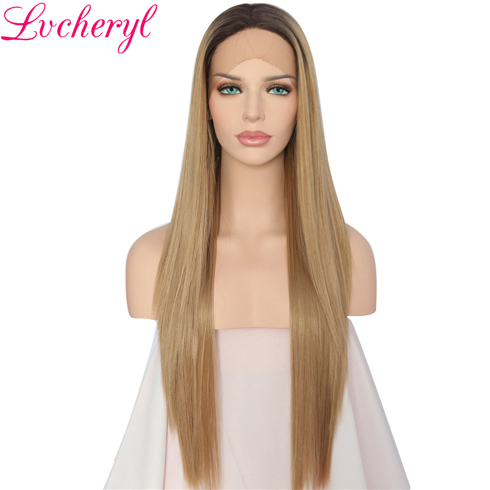 Lvcheryl Hand Tied Dark Roots To Ash Blonde Ombre Straight Heat Resistant Hair Glueless Synthetic Lace