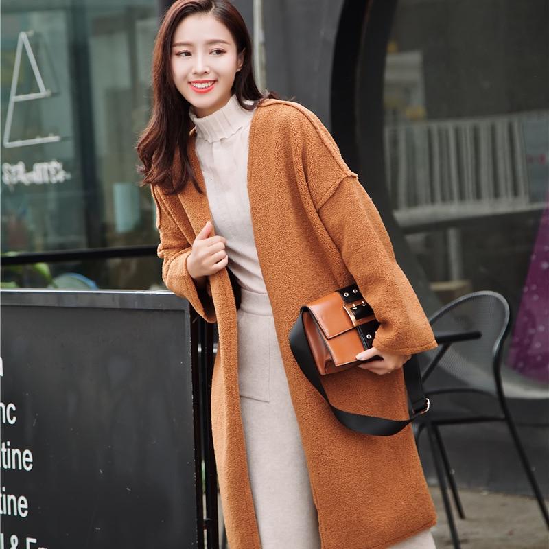 A Donna Nero Solid Elegante Con Aperto Giacca Coreano Punto Misto Lungo  Modo Donne Signore Il Lana arancione Da V Di Sottile Nuovo Cappotto Scollo  ... 2103ac762f0