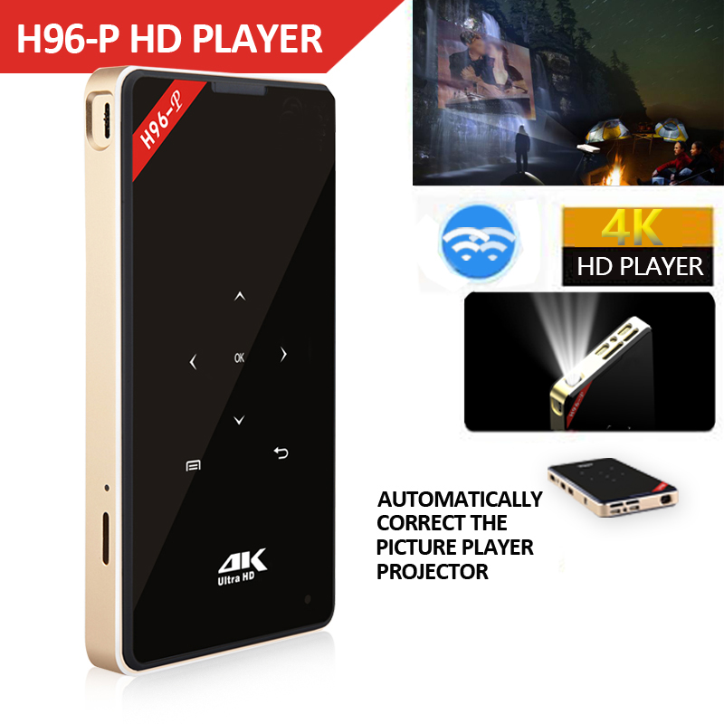 Hotsale H96-P Mini DLP 4 k Projecteur Quad Core Android Portable Home vidéo cinéma Bluetooth HD-IN 5g WIFI TV Box 2gb 16g