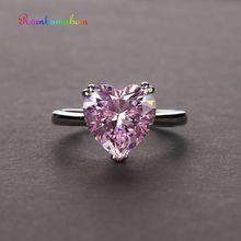 Rainbamabom 925 סטרלינג כסף אהבת לב נוצר Moissanite חן חתונת אירוסין טבעת יהלומים להקת תכשיטים סיטונאי