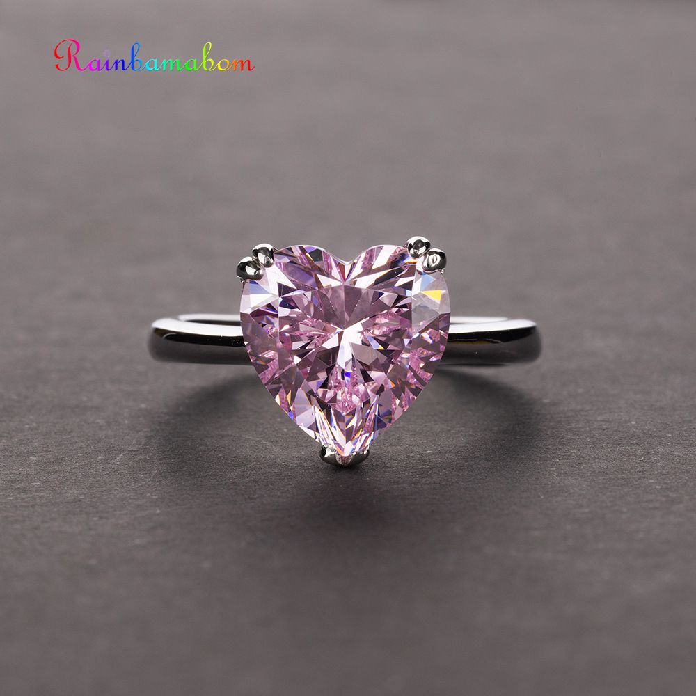 Rainbamabom 925 Sterling Silver Love Heart Created Moissanite Gemstone Wedding Engagement Ring Diamonds Band Jewelry Wholesale