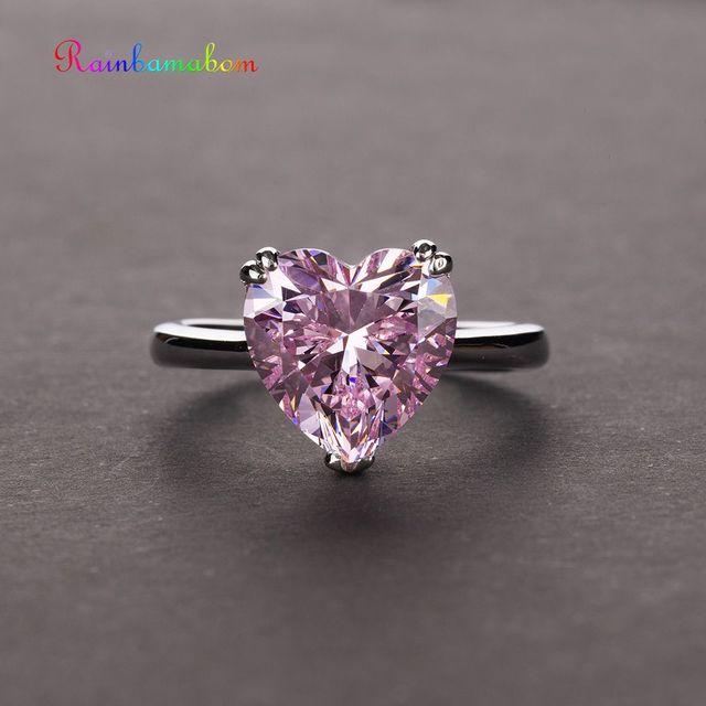 Rainbamabom bague en argent Sterling 925, bracelet en diamant, bijoux en forme de cœur damour créé, pierres précieuses, mariage, vente en gros