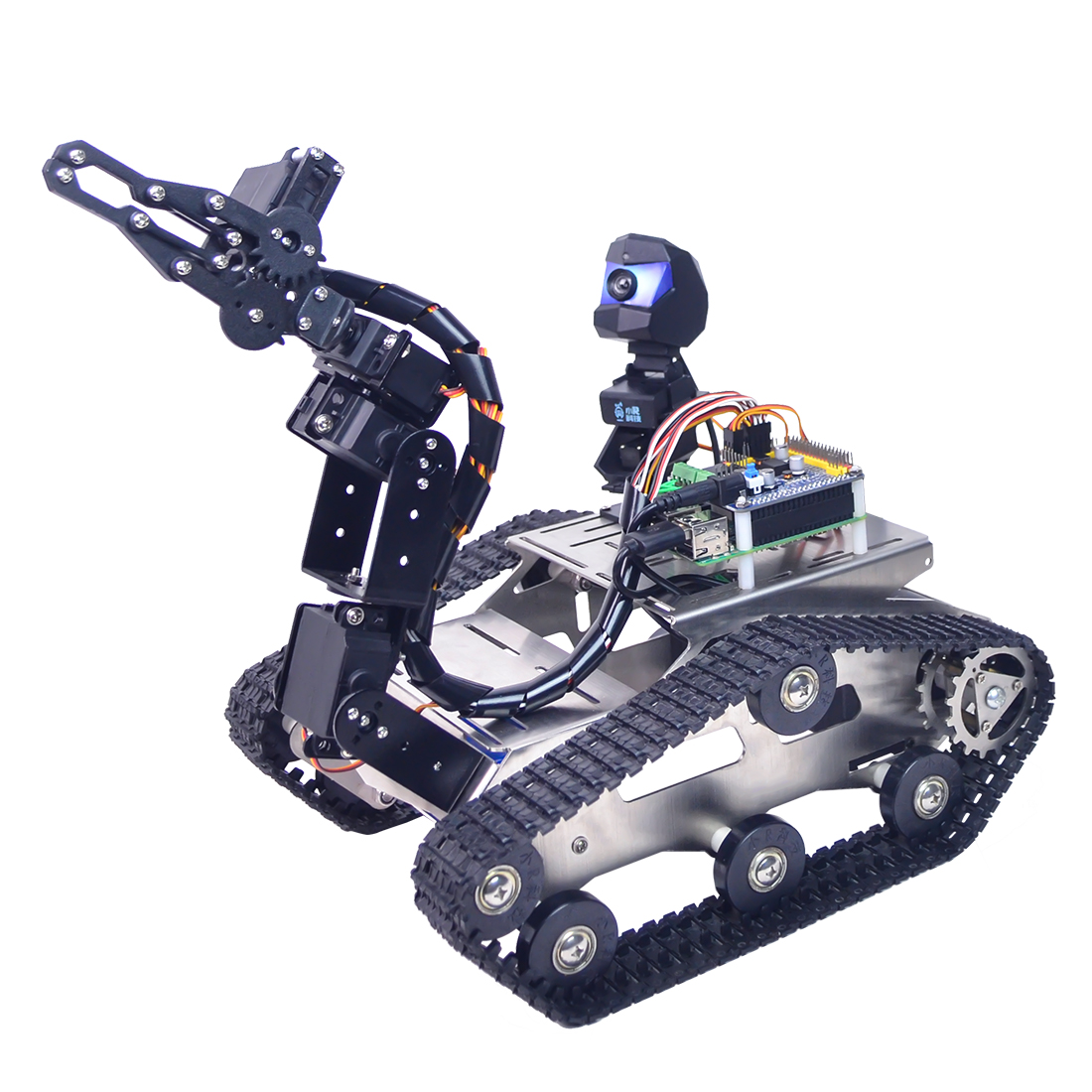 Small Claw Programmable TH WiFi Bluetooth FPV Tank Robot Car Kit With Arm For  Arduino MEGA Line Patrol Obstacle Avoidance