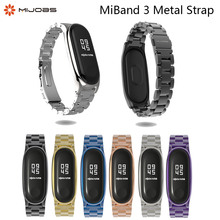 Mijobs Metal Strap Plus For Xiaomi Mi Band 3 Strap Screwless Stainless Steel Bracelet For Mi Band 3 correa Replace Accessories mijobs mi band 2 strap metal bracelet screwless stainless steel bracelet wristbands replace accessories for xiaomi mi band 2