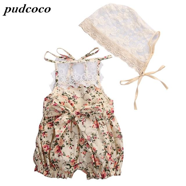 65fcade7a589 Ruffled Baby Girl Sunsuit Rompers Lace Striped Baby Girls Clothing Set Kids  Jumpsuit Cotton Rompers Real photo-in Rompers from Mother   Kids on ...