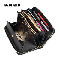 AGBIADD Women Wallets Genuine Leather Long Clutch Female ID Card Holders Coin Pouch Unique Design Easy