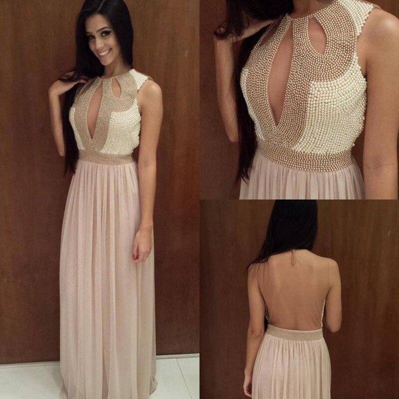 Perlas simuladas baile vestidos largos 2015 Sexy mujeres Formal ...