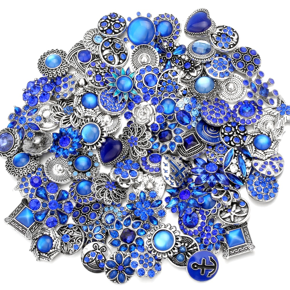 20pcs/lot 18mm Snap Jewelry Mix Many Styles 18mm Metal Snap buttons Silver buttons Rhinestone Watches Snaps Jewelry